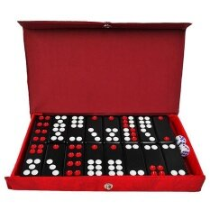 Black Dominos Game Pai Gow 32pcs Dominoes with Leather Box and 2 Dices High Quality Board Game