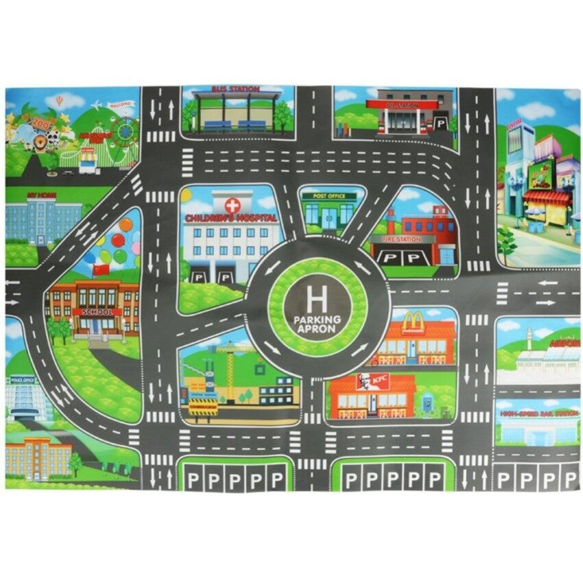 blackhorse New Arrival 83 * 58CM Kids Toy City PARKING ROAD Roadmap Map DIY Model Car Toy Climbing Mats English version -1#