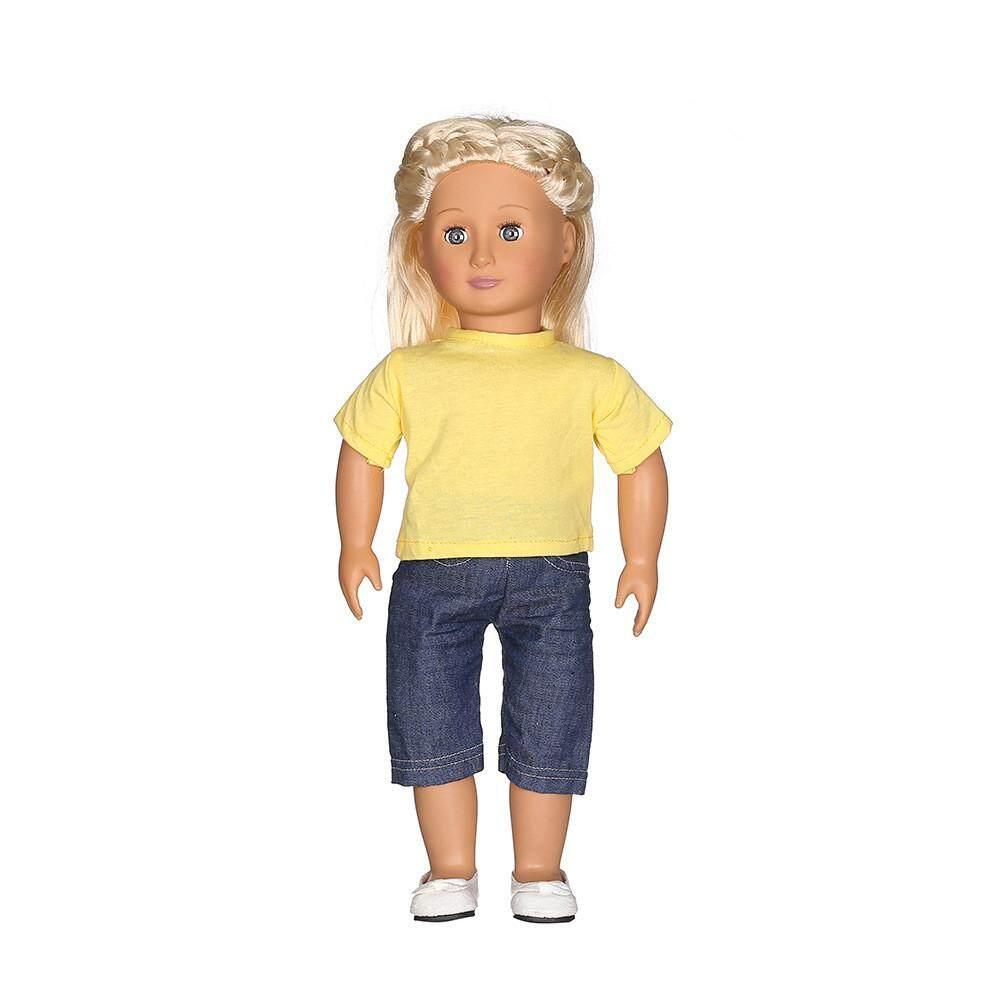 Bluelansie Kasual Kaus Jeans Celana Cocok untuk 18 Inch Doll Perempuan Amerika Generasi Kami-Internasional