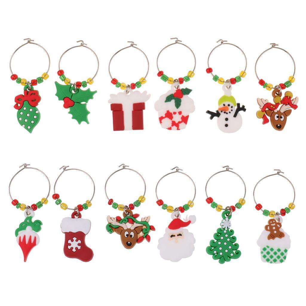 BolehDeals 12pcs/Set Christmas Santa Claus Snowman Reindeer Wine Glass Charms Marker Rings Home Xmas
