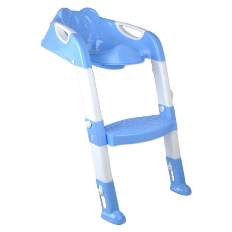 JJY86FCDD Bayi Lipat Balita Anak Pispot Toilet Latihan Kursi Langkah Kursi Bertangga Biru