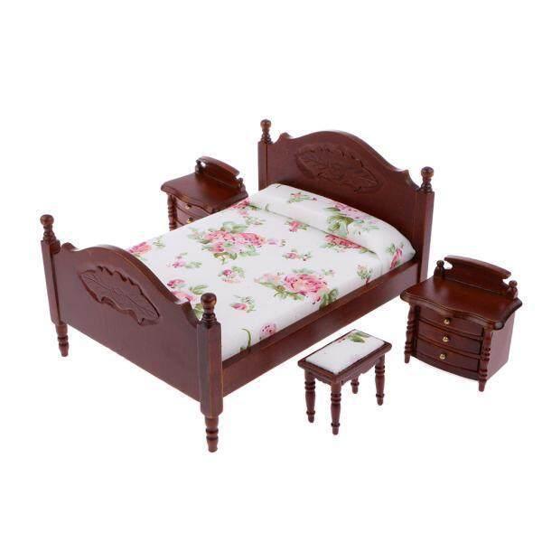 Bolehdeals Miniatur Rumah Boneka Kamar Tidur Furniture Tempat Tidur Bedside Meja Stool Set dari 4 Pcs-Internasional