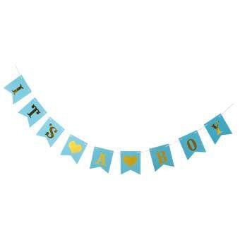BolehDeals It's A Boy Bunting Banner Gender Reveal Baby Shower Party Decor Gold&Blue