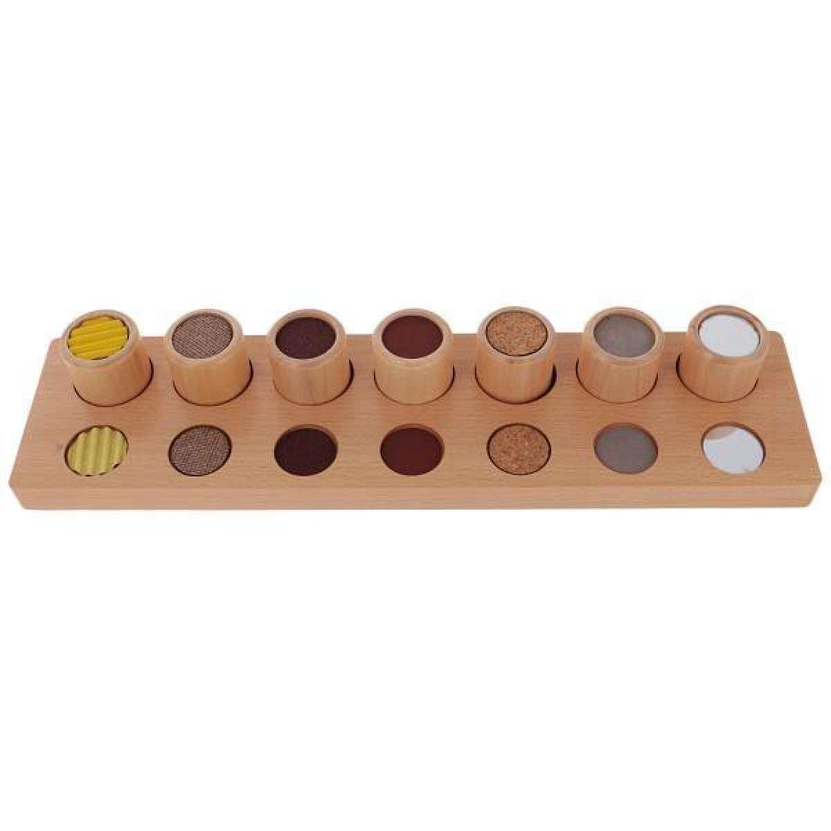 BolehDeals Montessori Wood Cylinders Touch Rough and Smooth Sensorial Material Kids Toy