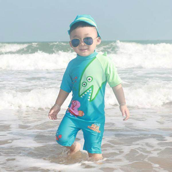 Boys One-Piece Swimsuit With Cute Swim Hat Swimwear Sun Protection - Intl By Shenzhen Feisibuke Dianzi Shangwu Youxiangongsi.