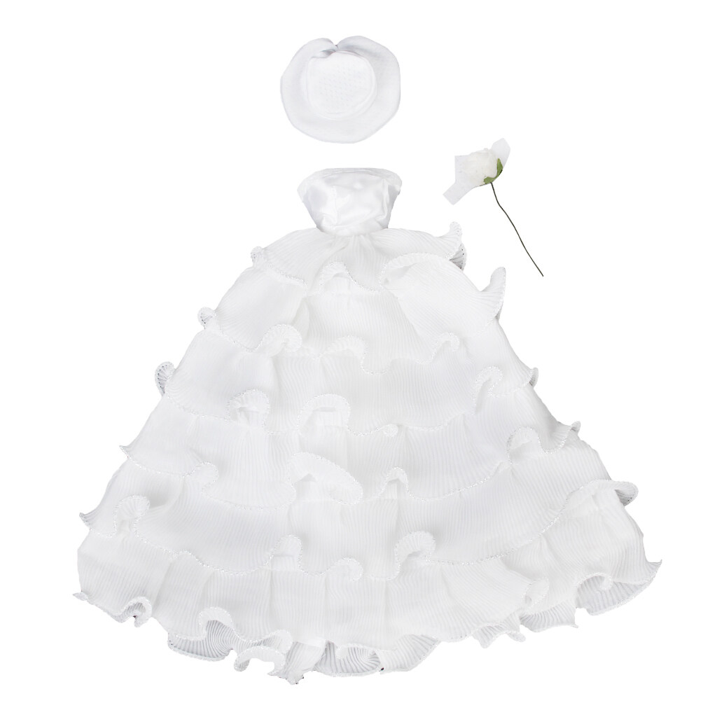 Bridal Wedding Floral White Dress With Hat & Flower For Doll - intl