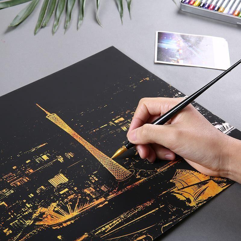 Cerah Kota Theme Diy Menggambar Gambar Dinding Lukisan Menggaruk Kartu, kota Emas Malam Tampilan Dekorasi Rumah Gaya: Guangzhou-Internasional