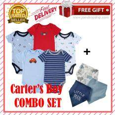 97ccb1d49f0c Quality Boys Carter s LOVE 5 Short Sleeve Rompers + 3 Bibs Set