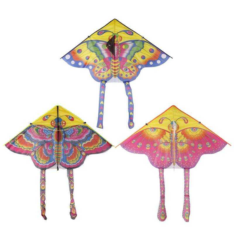 BUYINCOINS 90cm Beautiful Colorful Traditional Kite Butterfly Chinese Without String