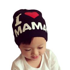 Topi Anak Rajutan Balita Aku Cinta Ayah Mama Hitam Aku Cinta Mama