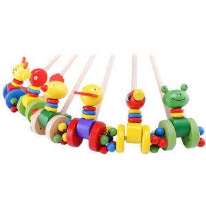 Hình ảnh Cartoon Baby Coagent Toddler Child Putting Animals Wooden Puzzle Trolley - intl