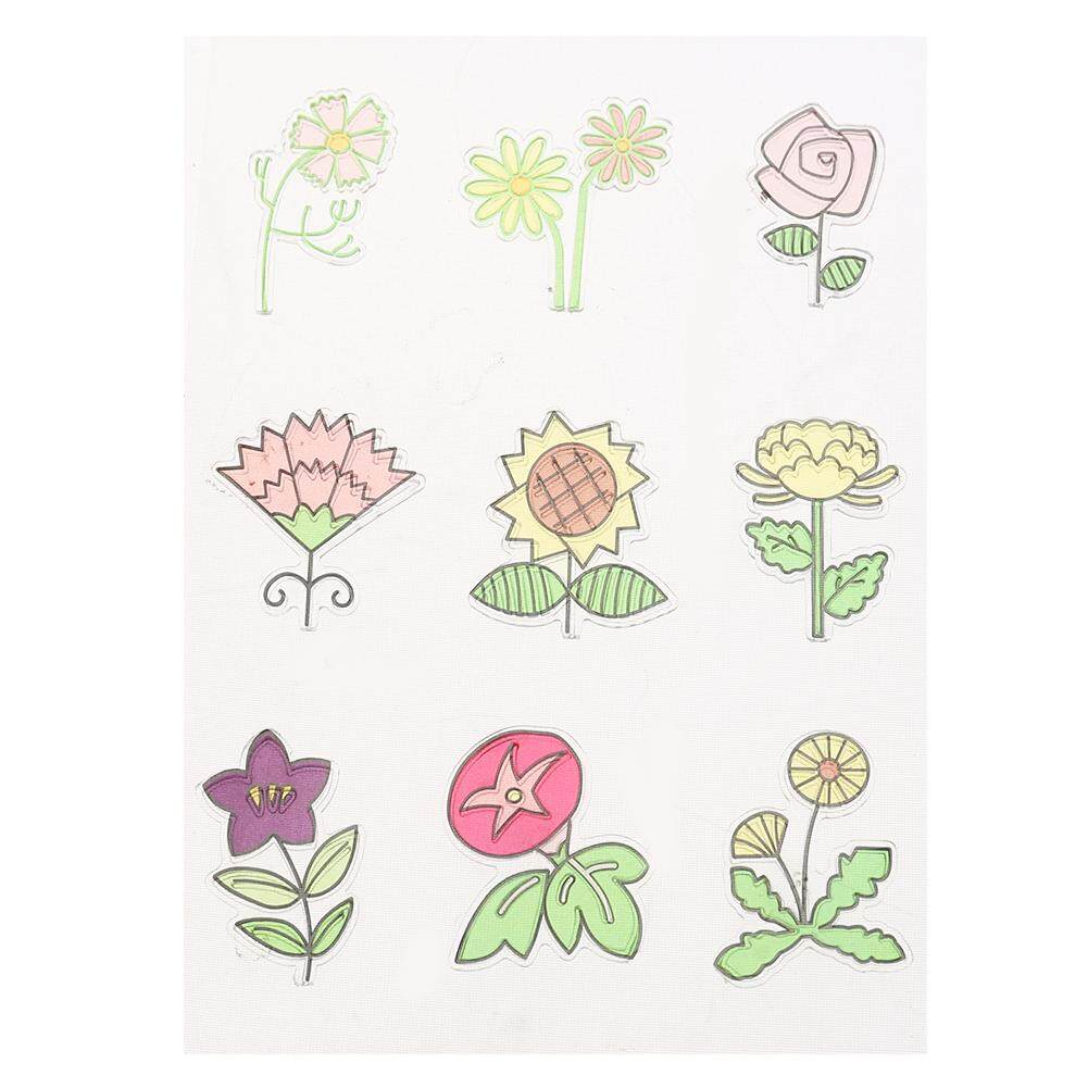 Hình ảnh Cartoon Cute Flower Stamp DIY Scrapbook Card Embossing Transparent Stamp - intl