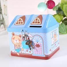 Kartun Rumah Besi Celengan Babi Imut Penyimpanan Uang Kotak Seng Kreatif Pot Koin Hadiah Untuk Anak-Anak Gaya: Biru Ukuran: 11.9*9.4*10.4 Cm By Hiquuen.