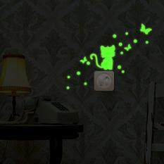 Cartoon Luminous Diy Cute Cat Switch Wall Sticker Night Light Sticker By Jayaskyie.