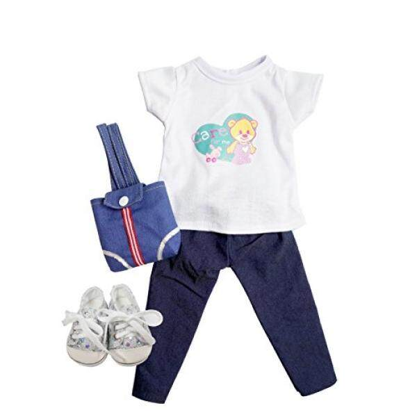 Casual Doll Clothes Set Blue Jeans Matching White T-shirt 18 American Girl Accessories - intl