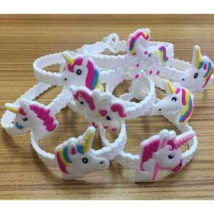 Hình ảnh Chenxi 5Pcs Emoji Bracelets Wristband, Unicorn Birthday Party Favors Supplies for Kids Girls, Emoticon Toys Prizes Gifts, Rubber Band Bracelet - intl