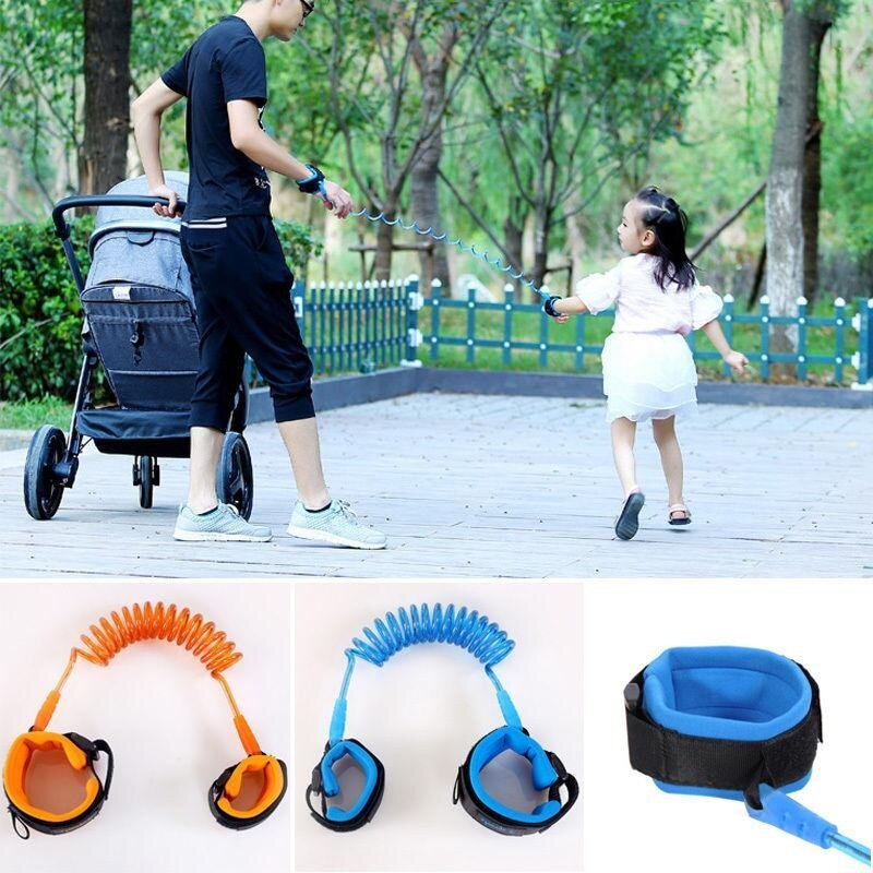 Children Anti Lost Belt Stretchable Baby Safety Harness Anti-lost Strap Wrist Leash Walking Hand Belt For Kids Child Boys Girls(BLUE) - intl image on snachetto.com