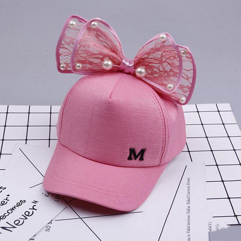663b0c7bc7b Children Baseball Cap Spring Summer Baby Rabbit Ear Pearl Big Bow Kids Sun  Hat Girls Snapback