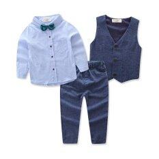 39f3912fecb3 Children Clothing Handsome Boy s 4pcs Suit Long-sleeve Shirts+vest+Trousers +bow