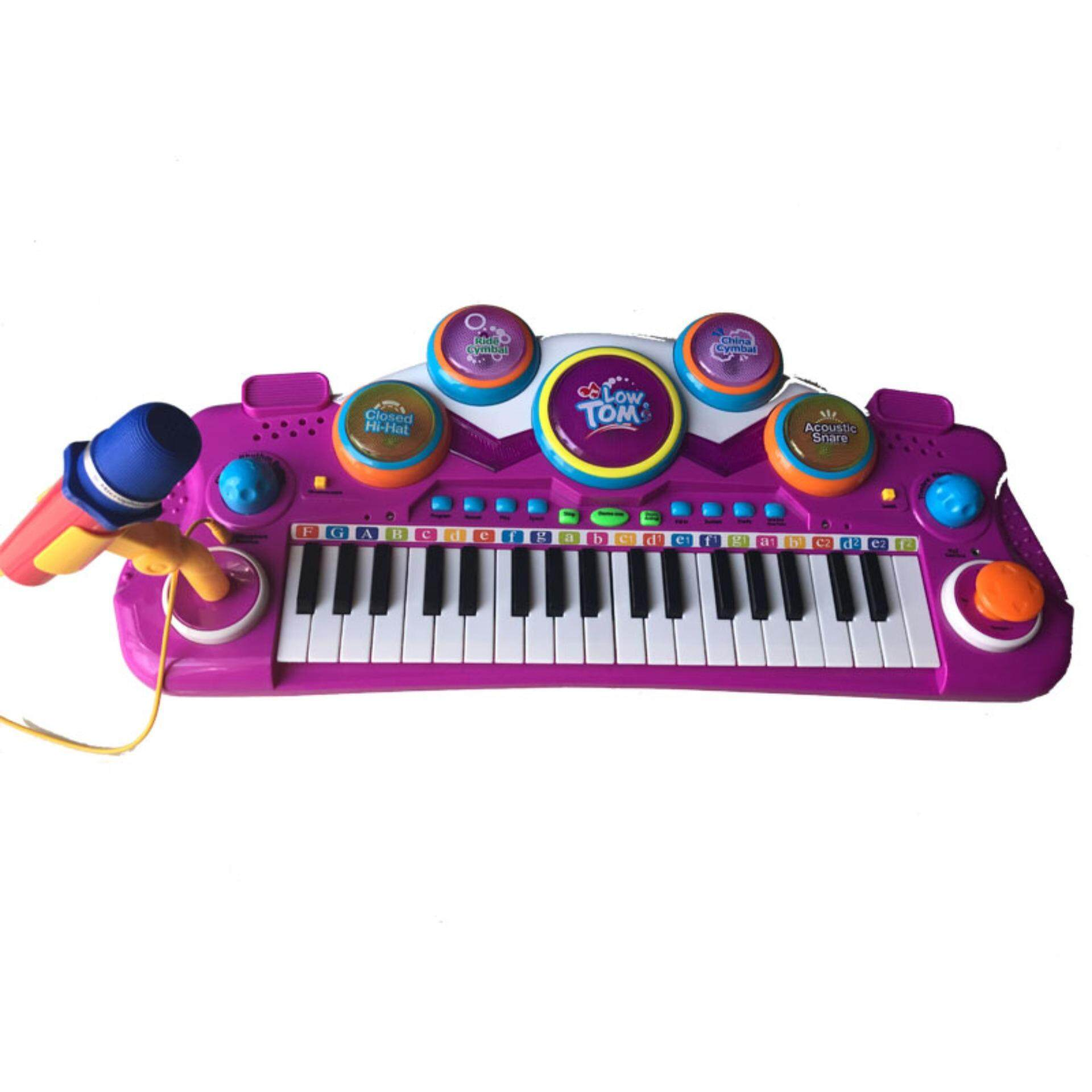 children kids 37 keys multifunctional mini simulation piano toy with microphone electrical keyboard electone music toy gift ()