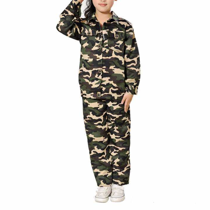 Children Kids Army Soldier Fancy Dress Costume Military Soldier Uniform Party Camo Outfit(7-9years)