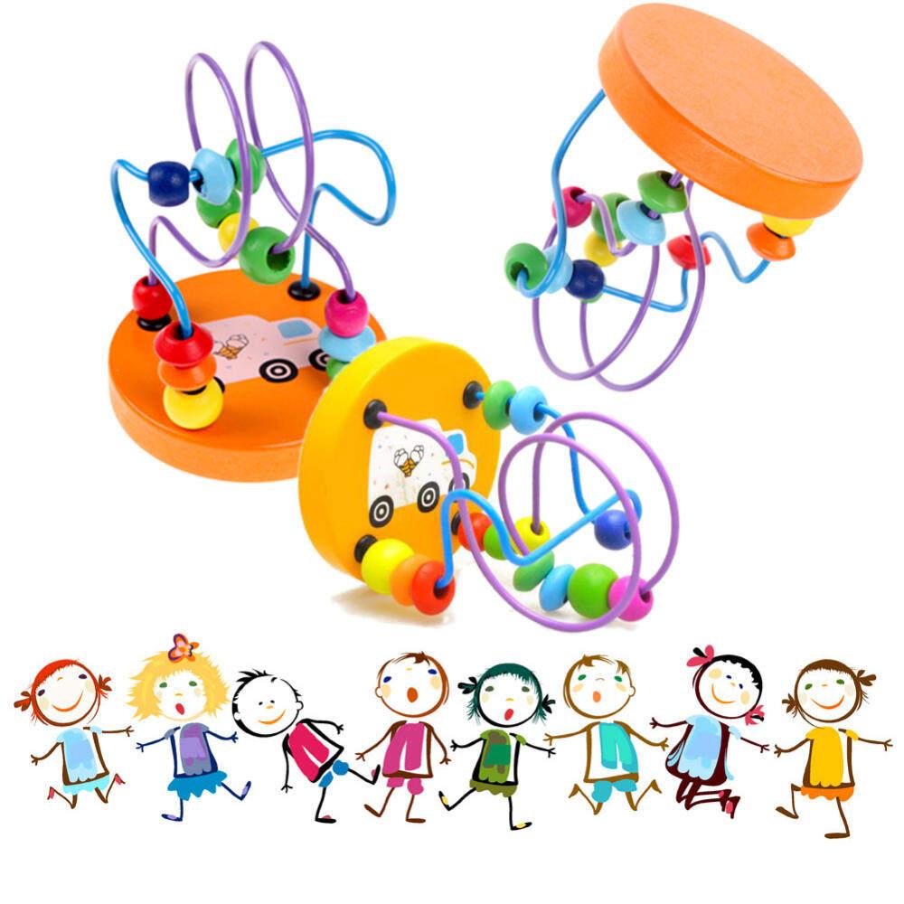 HSGA16RS Anak Anak-anak Bayi Manik-manik Kayu Berwarna Di Sekitar Mainan Pendidikan Mini