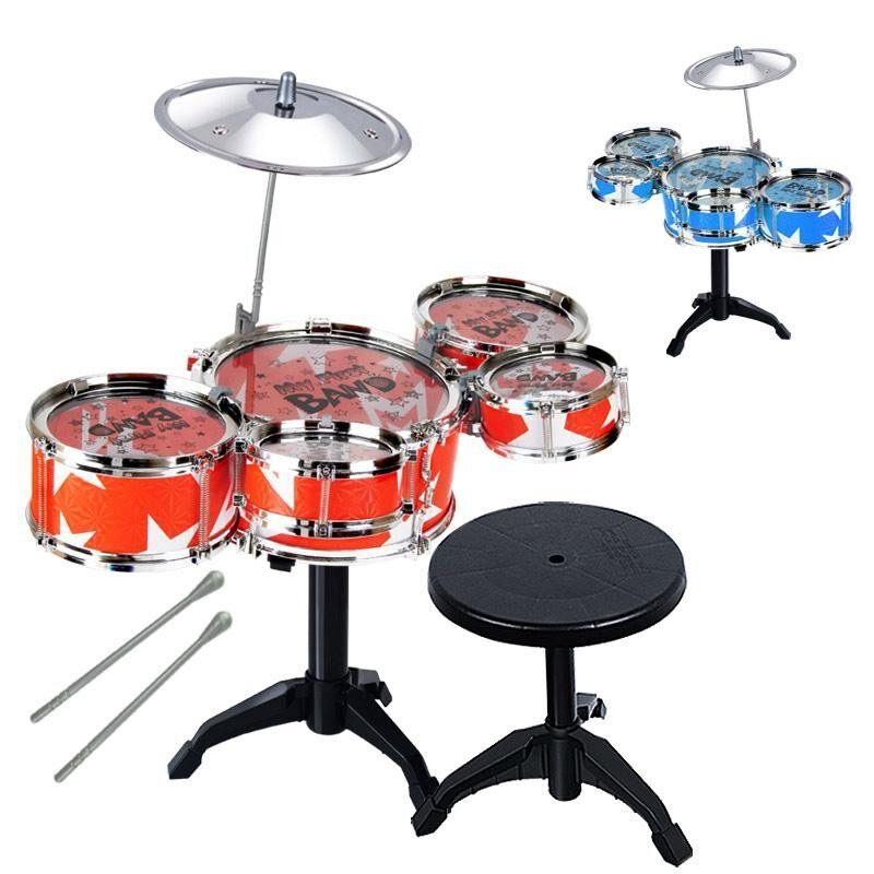 Anak-anak Alat Musik Mainan Jazz Drum Stik Drum Set dengan Kursi untuk Anak Laki-laki dan Perempuan Warna Acak Warna: warna-warni-Internasional