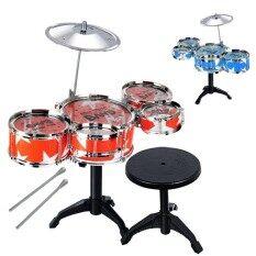 Anak-anak Alat Musik Mainan Drum Jazz Set Stik Drum dengan Kursi untuk Anak Laki-laki dan Perempuan Warna Acak Warna: Banyak Warna