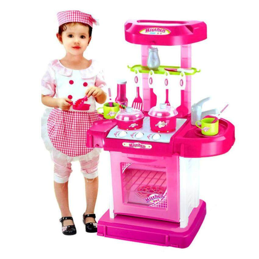 Children Portable Kitchen Toy Play Set Playset Educational Toys - Pink Set