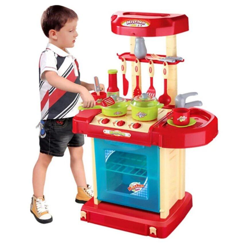 Children Portable Kitchen Toy Play Set Playset Educational Toys - Red Set