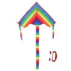 Children Raindow Color Triangle Long Tail Flying Kite Outdoor Funny Sport By Brisky.