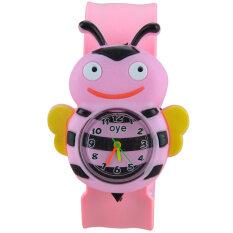 Childrens Bee Pattern Quartz Slap Wrist Watch Wristwatch with Rubber Band (Pink) Malaysia