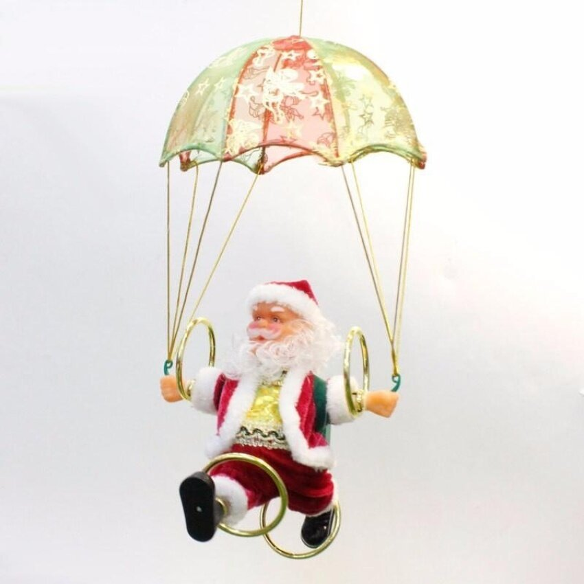 Christmas Old People Parachute plush electric hula hoop skydivingold man - Red