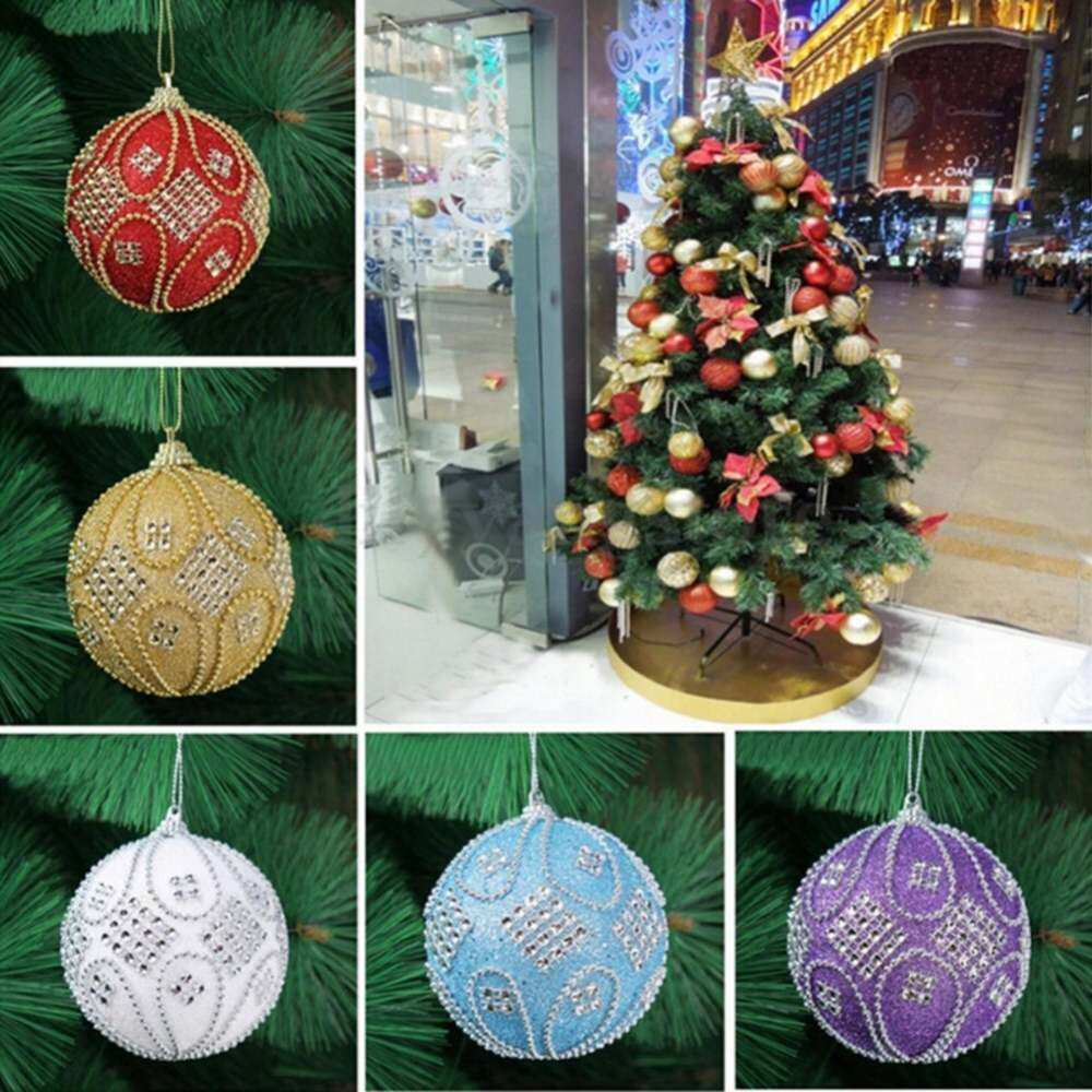 Christmas Rhinestone Glitter Baubles Balls 8cm Tree Xmas Ornament Decoration White By 7goals7.