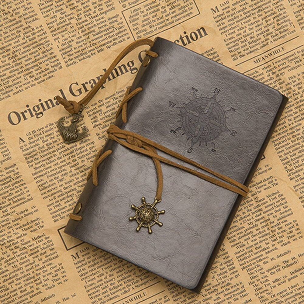 Mua Classic Retro Vintage Leather Pirate Bound Blank Pages Notebook Journal Diary Gray (Intl) - intl