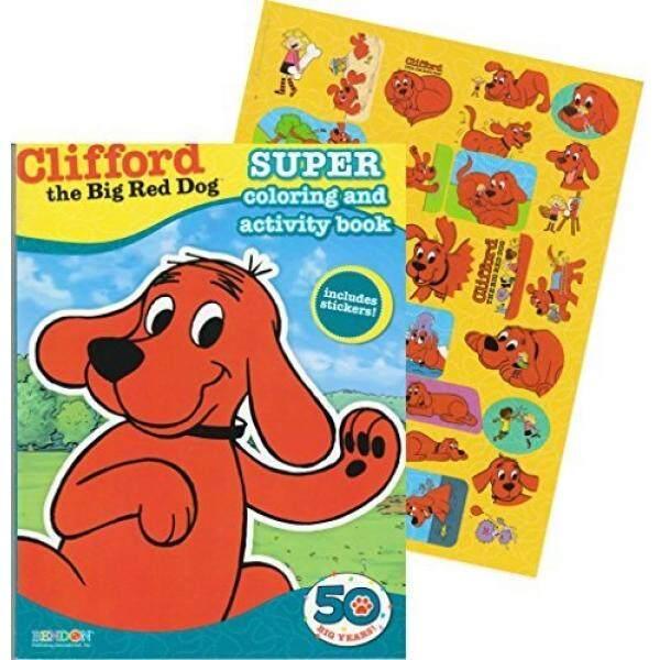 Clifford The Besar Merah Anjing Giant Mewarnai Buku dengan Stiker (144 Halaman)-Internasional