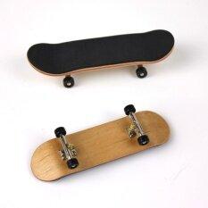 Complete Wooden Fingerboard Finger Skate Board Grit Box Foam Tape Maple Wood Black.
