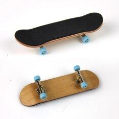 Complete Wooden Fingerboard Finger Skate Board Grit Box Foam Tape Maple Wood Light Blue.