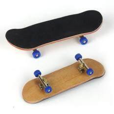 Complete Wooden Fingerboard Finger Skate Board Grit Box Foam Tape Maple Wood Navy.