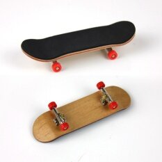 Complete Wooden Fingerboard Finger Skate Board Grit Box Foam Tape Maple Wood Red.