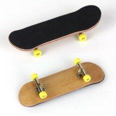 Complete Wooden Fingerboard Finger Skate Board Grit Box Foam Tape Maple Wood Yellow.