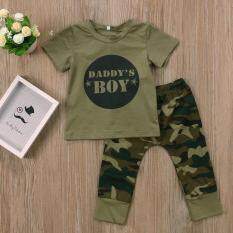 28691516eb207 Cool Camouflage Newborn Baby Boys Daddy's Boy T-Shirt Pants Outfits Suit Casual  Clothing Sets