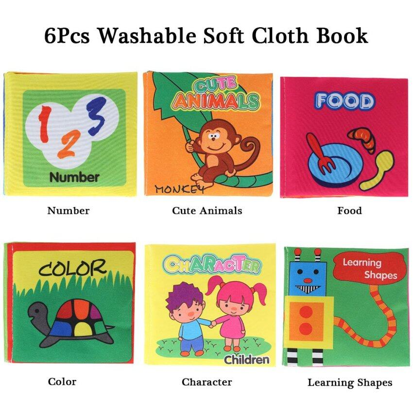 Coolplay Baby's First Non-Toxic Fabric Book 6Pcs Washable Soft Cloth Book Early Education Intelligent Toy for Infant Toddler Kids Learning