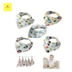 Cotton Triangle Bib For Baby Boy 5 Pcs By Blessed Bee.