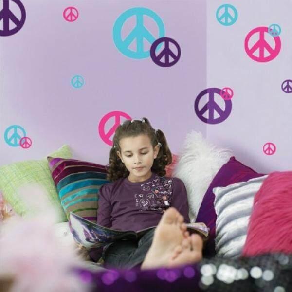 Buat-a-mural Peace Tanda Dinding Stiker-(24) Seksi Merah Muda, teal & Ungu Vinil Kulit & Tongkat Appliques-Internasional