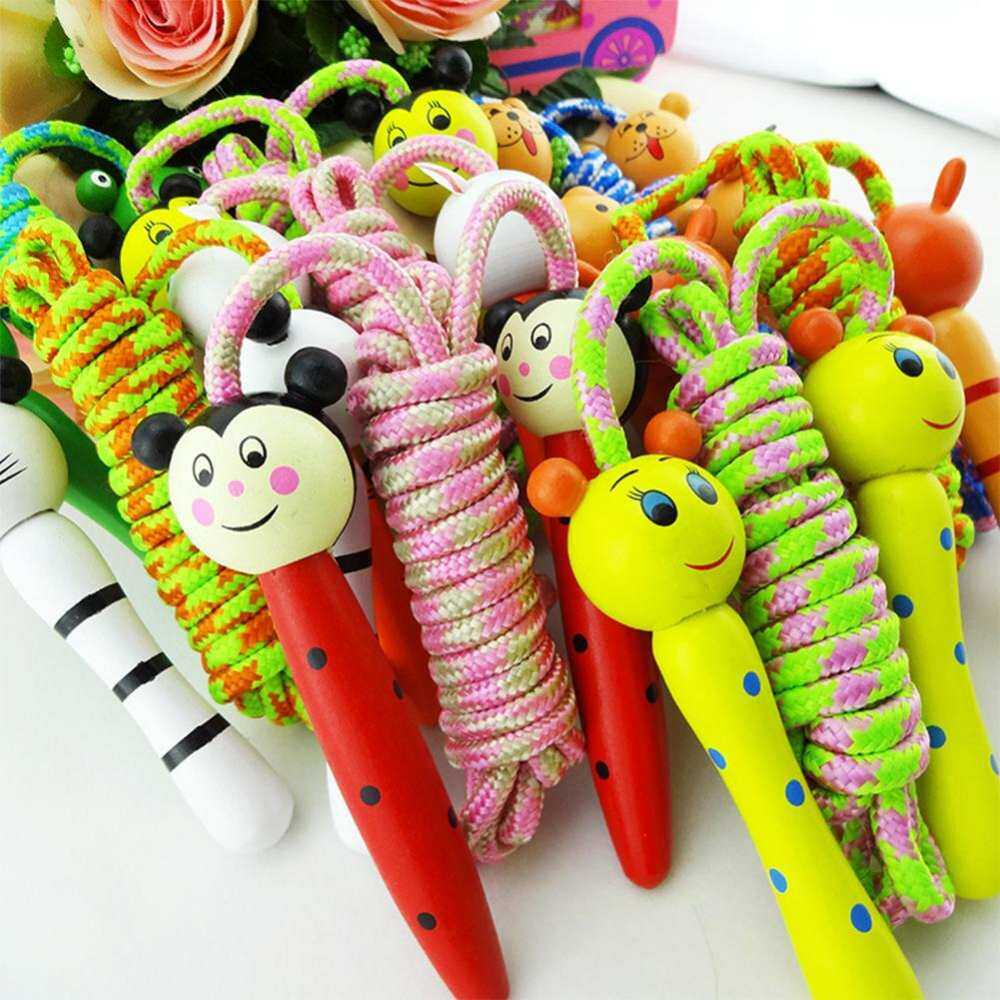 Creative Cute Skipping Rope Children S Toy Wooden Handle Jumping Game Random Rope Gift Style:color Style Fitness Handle Christmas Halloween Award Build By Mizzzee66.