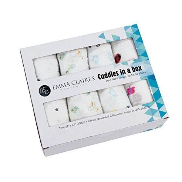 Cuddles Di Dalam Kotak-Kain Muslim Katun Selimut Set 4 Oleh Emma Claires Peralatan Rumah Tangga Besar Kain Kasa Pembatas Sempurna untuk Selimut Buntelan Bayi Shower selimut Menerima Burb Kain Unisex-Intl