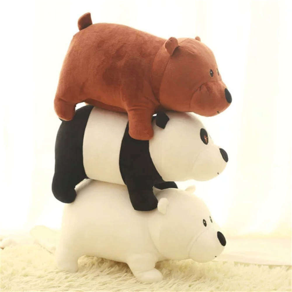 Lucu 3 pcs / set 25 cm Kami Telanjang Beruang Kartun Beruang Grizzly Abu-abu