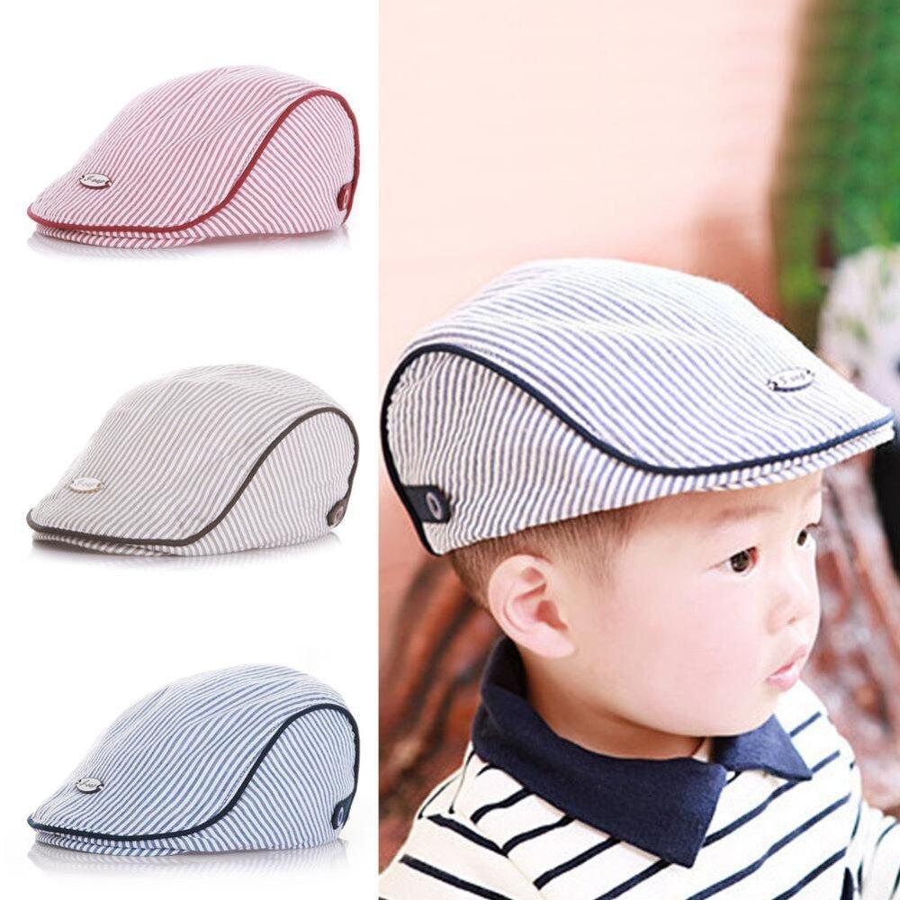 6ca643f43fc3 Paling murah Cute Kids Baby Infant Boy Girl Stripe Beret Cap Peaked  Baseball Hat(Coffee) kajian semula - Hanya RM17