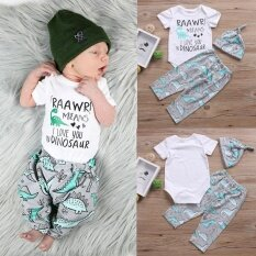 Cute Newborn Baby Short Sleeve Dinosaur Animal Printed Romper Tops+pants+hat Casual Outwear Clothing Sets Outfits By Children Eden.
